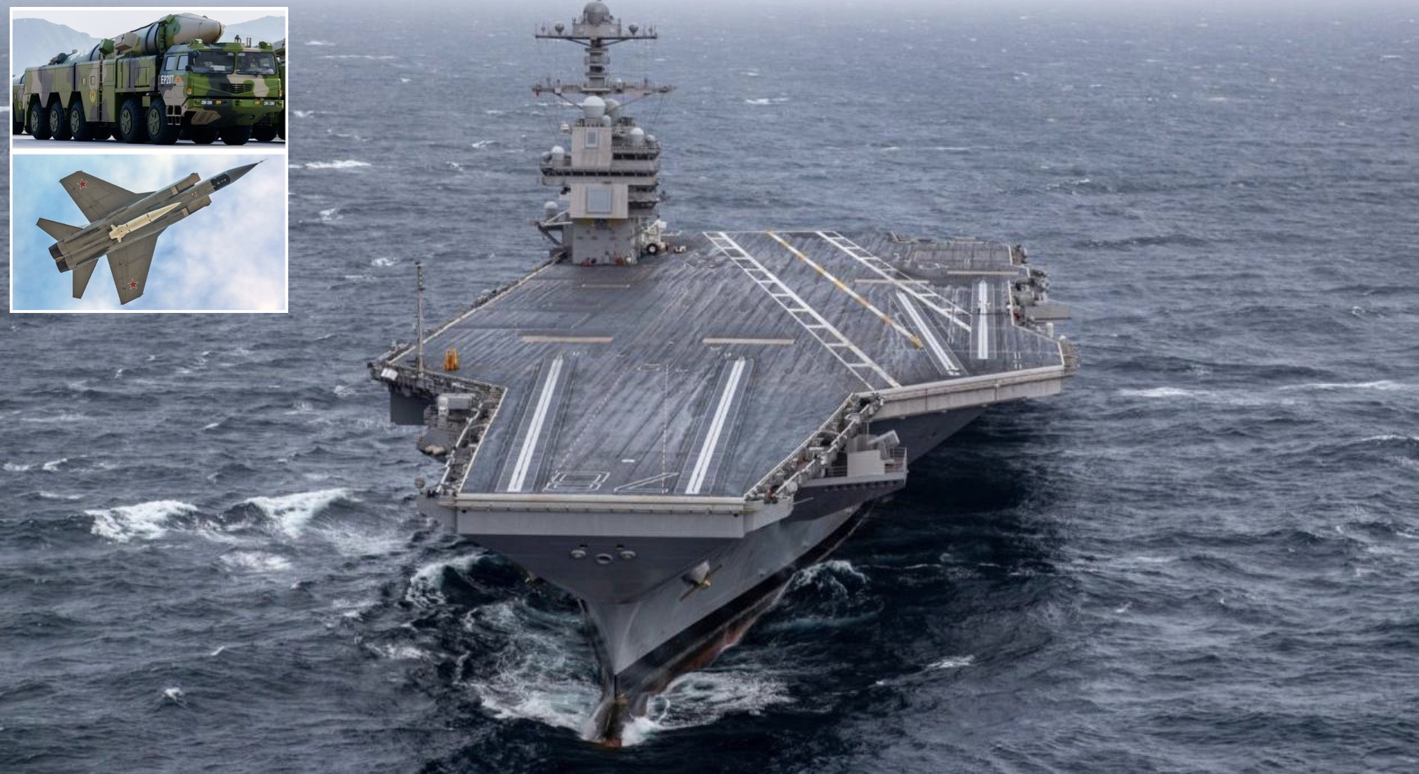 U.S. Navy Supercarrier USS Gerald Ford with DF-21D and Kh-47M2 Hypersonic Anti Ship Ballistic Missiles
